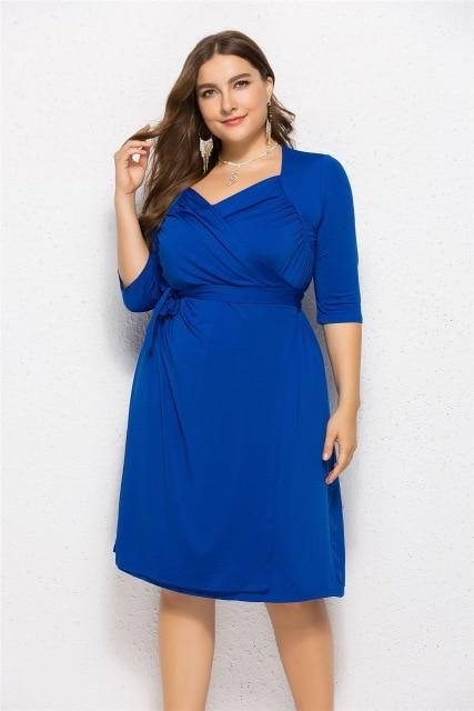 V Neck Half Sleeve Solid Midi Dress dress Blue XXXL