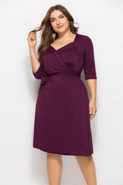V Neck Half Sleeve Solid Midi Dress dress Purple L