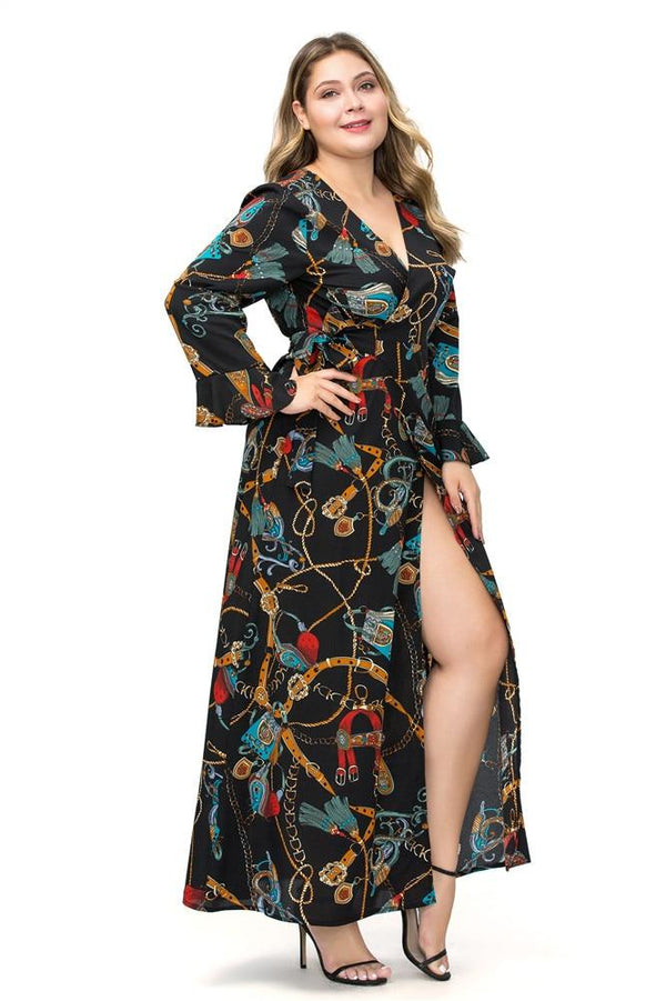 V Neck Long Sleeve Chain Print Retro Vintage Dress dress