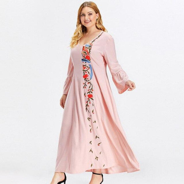 V Neck Long Sleeve Embroidery Floral Casual Dress dress Pink XL