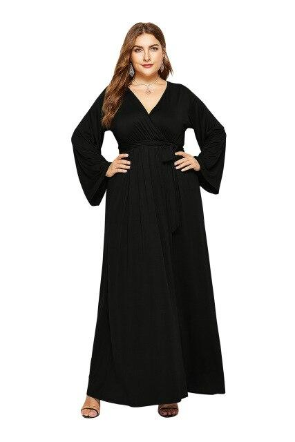 V Neck Long Sleeve High Waist Belted Casual Dress dress Black M