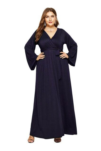 V Neck Long Sleeve High Waist Belted Casual Dress dress Blue M