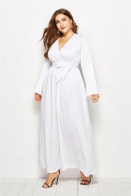 V Neck Long Sleeve High Waist Belted Casual Dress dress White M