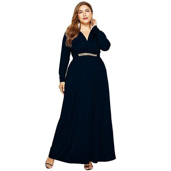 V Neck Long Sleeve High Waist Long Dress dress Black M