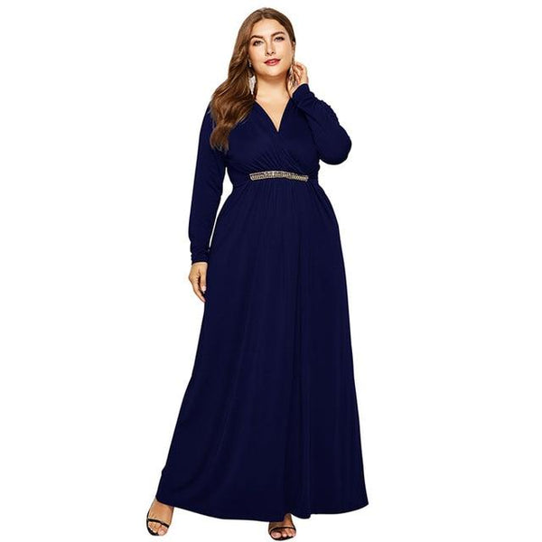 V Neck Long Sleeve High Waist Long Dress dress Navy Blue M