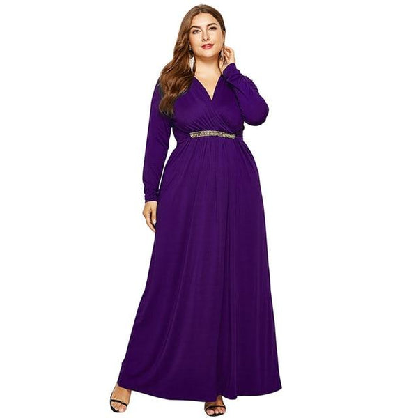 V Neck Long Sleeve High Waist Long Dress dress Purple M