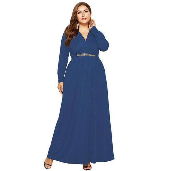 V Neck Long Sleeve High Waist Long Dress dress Sky Blue M