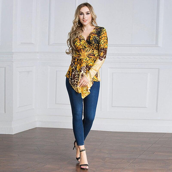 V Neck Long Sleeve Retro Blouse blouse