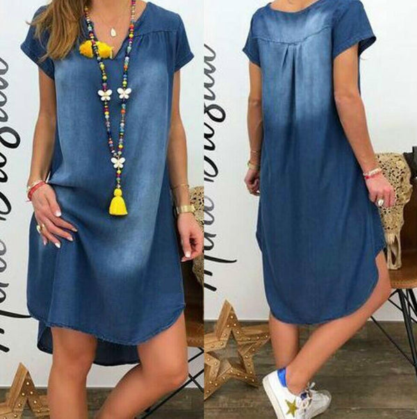 V-Neck Short Sleeve Denim Dress dress