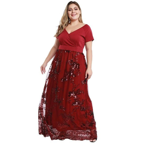 V Neck Short Sleeve Elegant Party Dress dress Red 5XL
