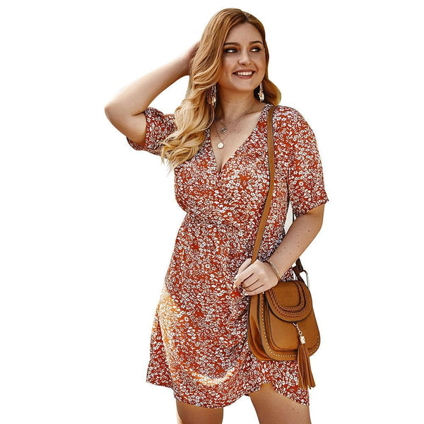 V Neck Short Sleeve Floral Print Casual Dress dress