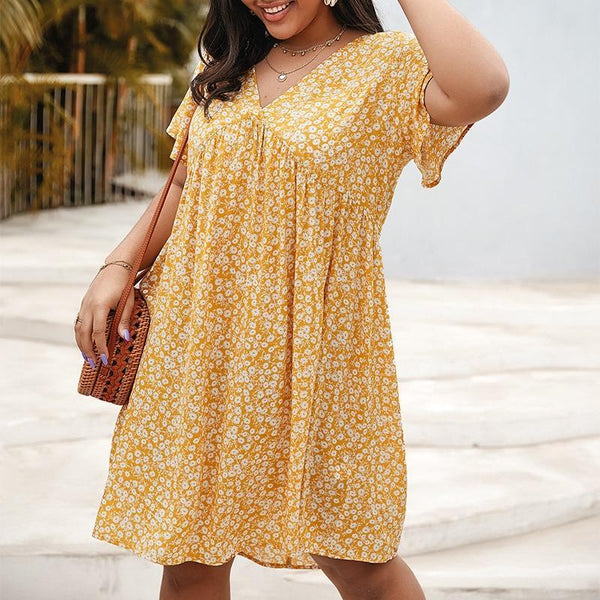 V Neck Short Sleeve Floral Print Midi Dress dress