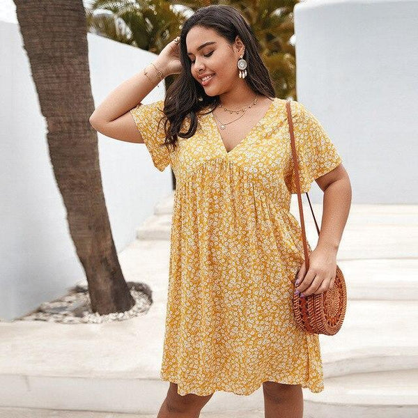 V Neck Short Sleeve Floral Print Midi Dress dress Yellow XL