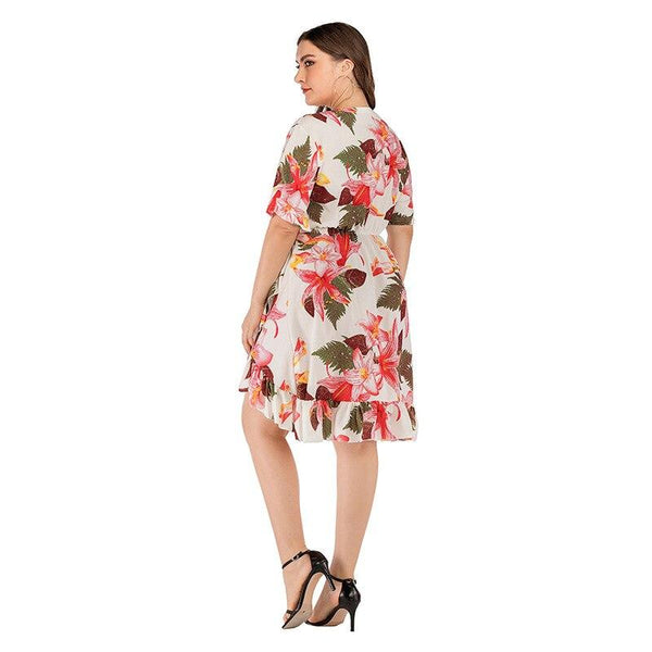 V Neck Short Sleeve Floral Print Ruffles Dress dress