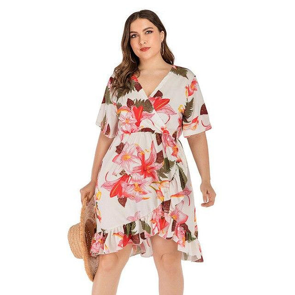 V Neck Short Sleeve Floral Print Ruffles Dress dress White 4XL
