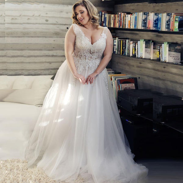 V-neck Sleeveless Applique Tulle Wedding Dress wedding