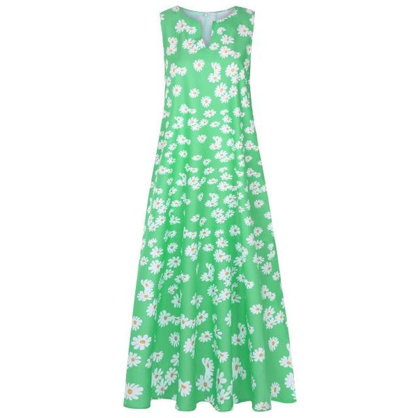 V Neck Sleeveless Floral Print Casual Dress dress