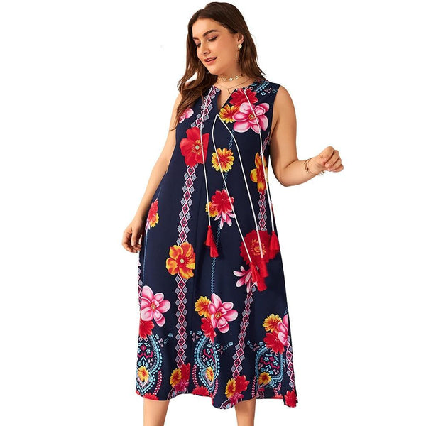 V Neck Sleeveless Flower Loose Dress dress