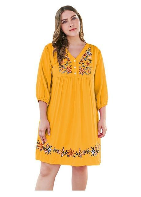 V Neck Three Quarter Sleeve Embroidery Casual Dress dress Yellow 4XL