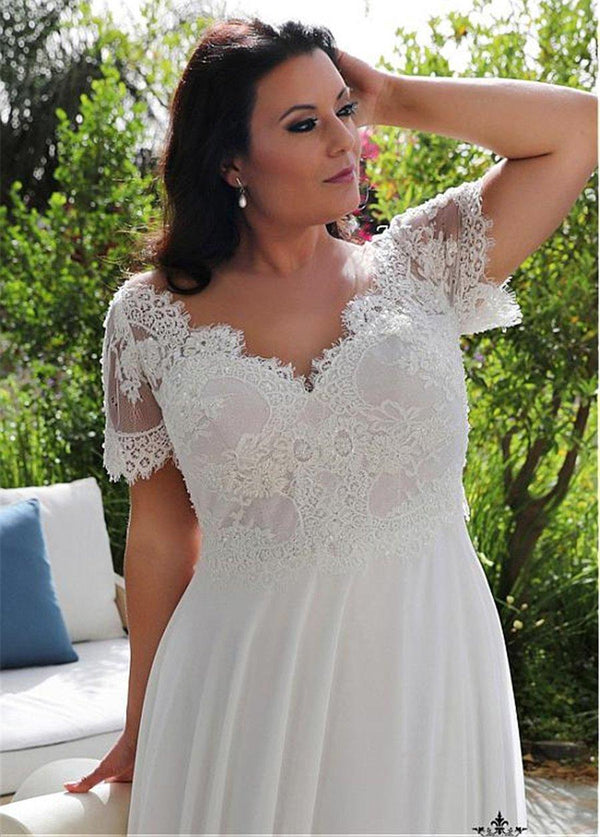 V-Neckline A-line Plus Size Wedding Dresses