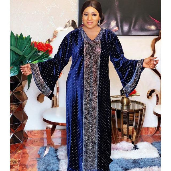 Velvet African Autumn Africa Muslim Long Dress dress Navy Blue L