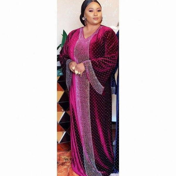 Velvet African Autumn Africa Muslim Long Dress dress Pink XXXL