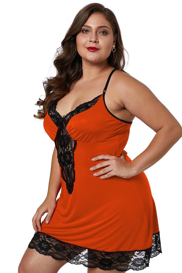 Venecia Chemise with Lace Trim Plus Size Lingerie