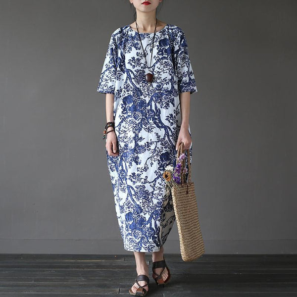 Vintage Flower Print Women's Fall Dress