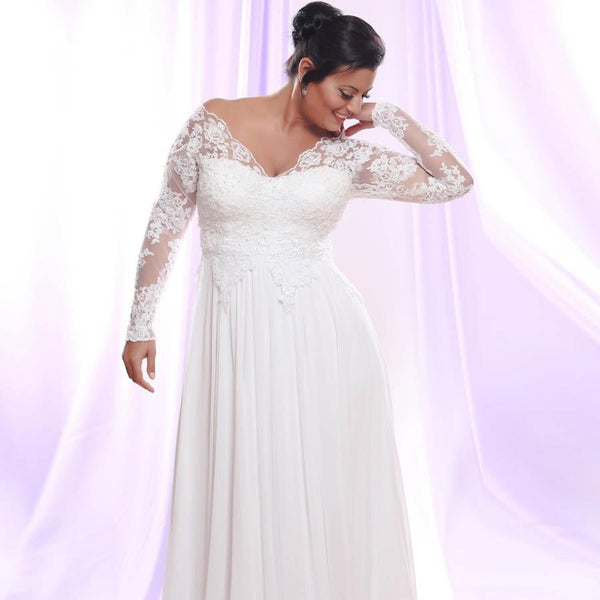 White/Ivory Long Sleeves Chiffon Wedding Dress Gown wedding