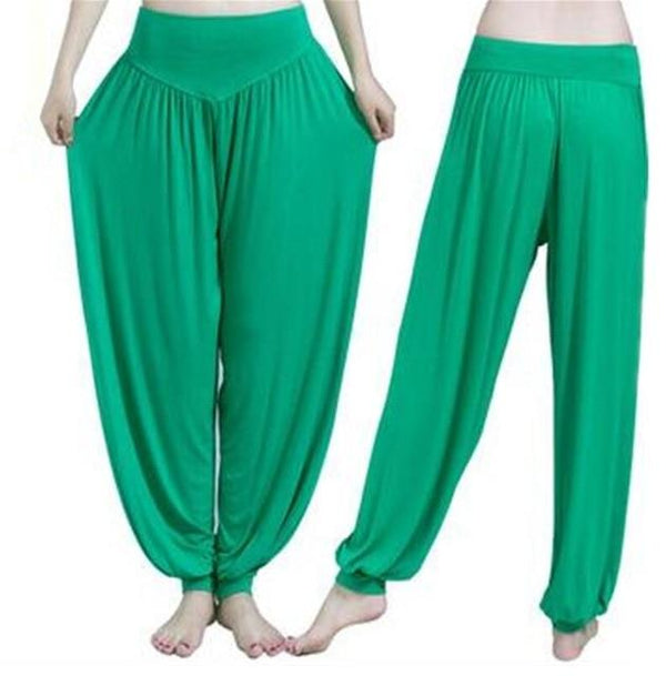 Wide Leg Harem Pants leggings K075 Fruit green S