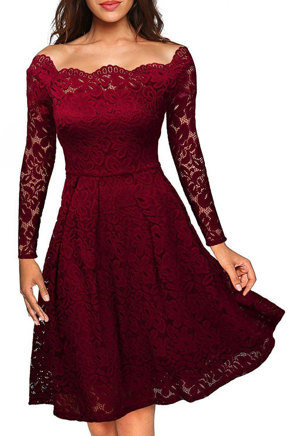 Wine Plus Size Scalloped Off Shoulder Flared Lace Dress dress Burgundy XL