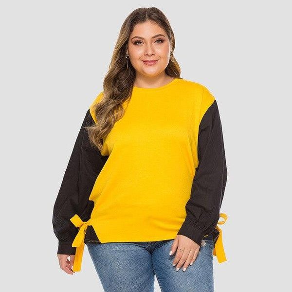 Winter Long Sleeve Contrast Color Elegant Sweatshirt sweater Yellow 4XL