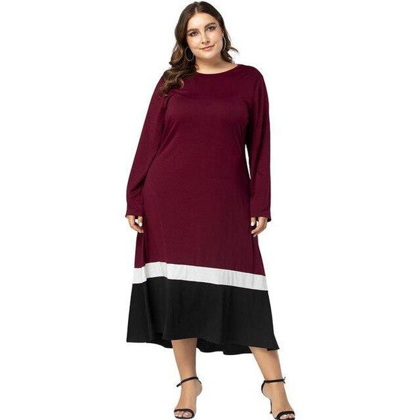 Winter Long Sleeve Loose Dress dress Burgundy L