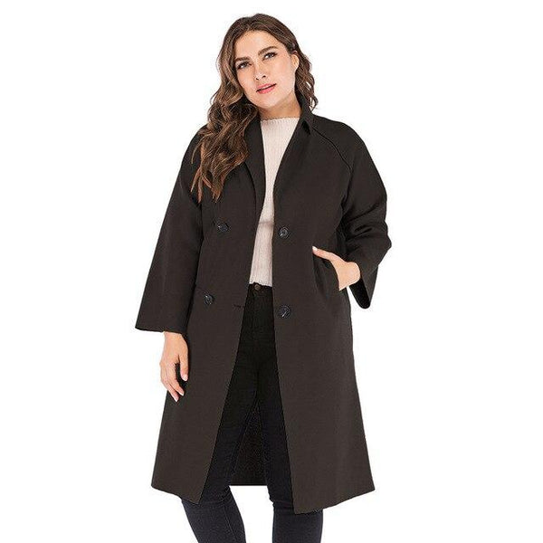 Winter Solid Wool Trench Coat Coats Black XXXL