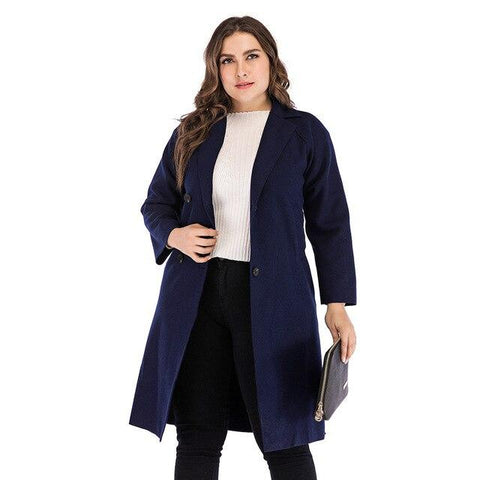 Winter Solid Wool Trench Coat Coats Blue XXXL