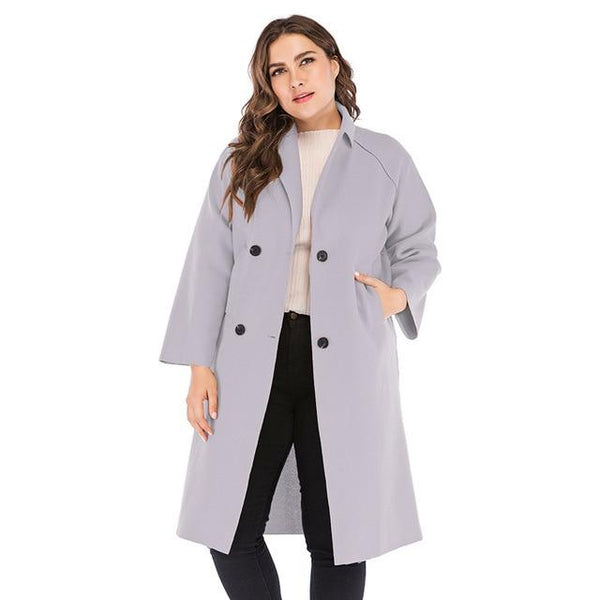 Winter Solid Wool Trench Coat Coats Gray XXXL