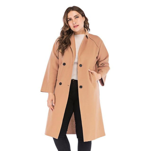 Winter Solid Wool Trench Coat Coats Khaki XXXL