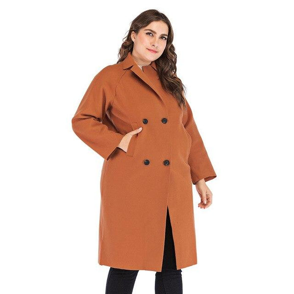 Winter Solid Wool Trench Coat Coats Orange XXXL
