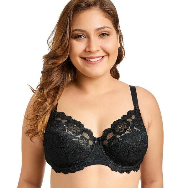 Women Full Coverage Underwired Black Plus Size Floral Lace Bra bras Black01 B 34