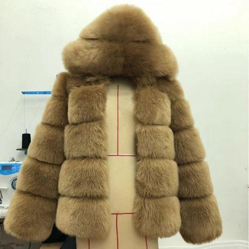Women Hooded Long Sleeve Fur Jacket