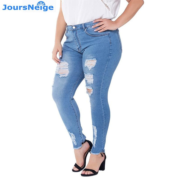 Women Plus Size Ripped Jeans Skinny Casual Denim Pencil Pants Fat Slim Stretch jeans