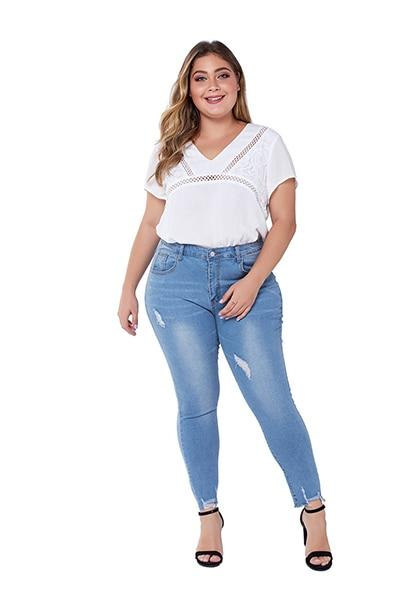 Women Plus Size Ripped Jeans Skinny Casual Denim Pencil Pants Fat Slim Stretch jeans Light Blue L