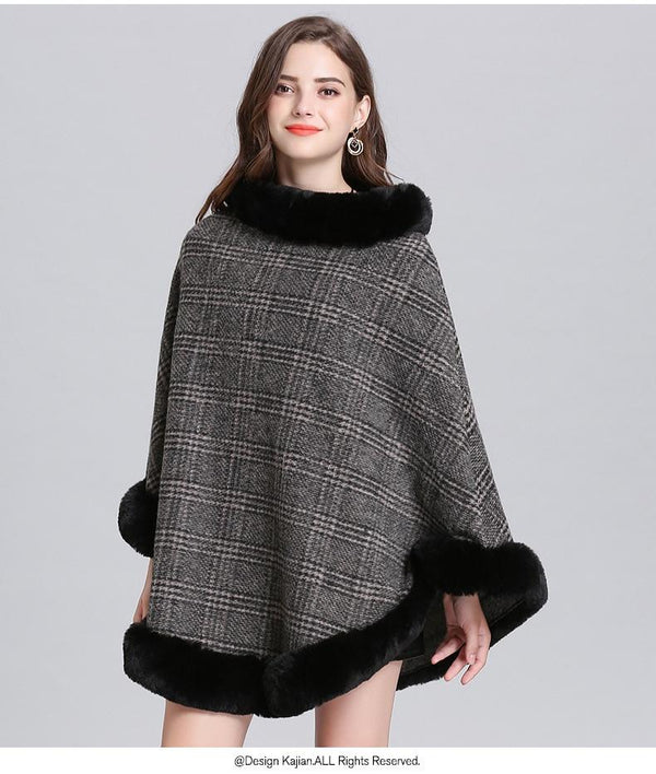 Women Striped Plaid Cape Poncho Sweaters