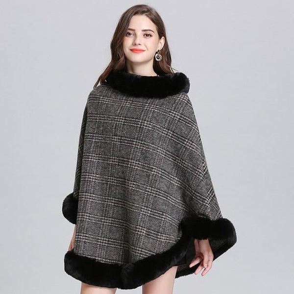 Women Striped Plaid Cape Poncho Sweaters Dark Grey one size
