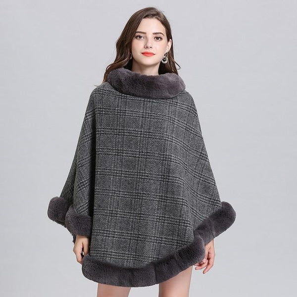 Women Striped Plaid Cape Poncho Sweaters Grey one size