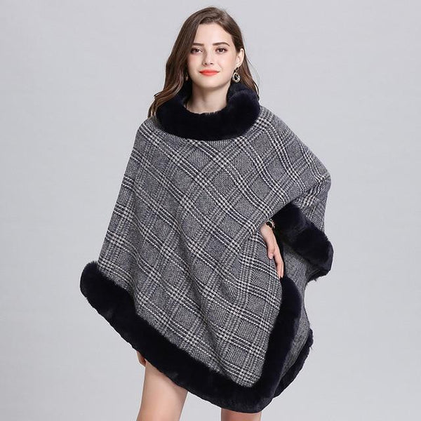 Women Striped Plaid Cape Poncho Sweaters Light Grey one size