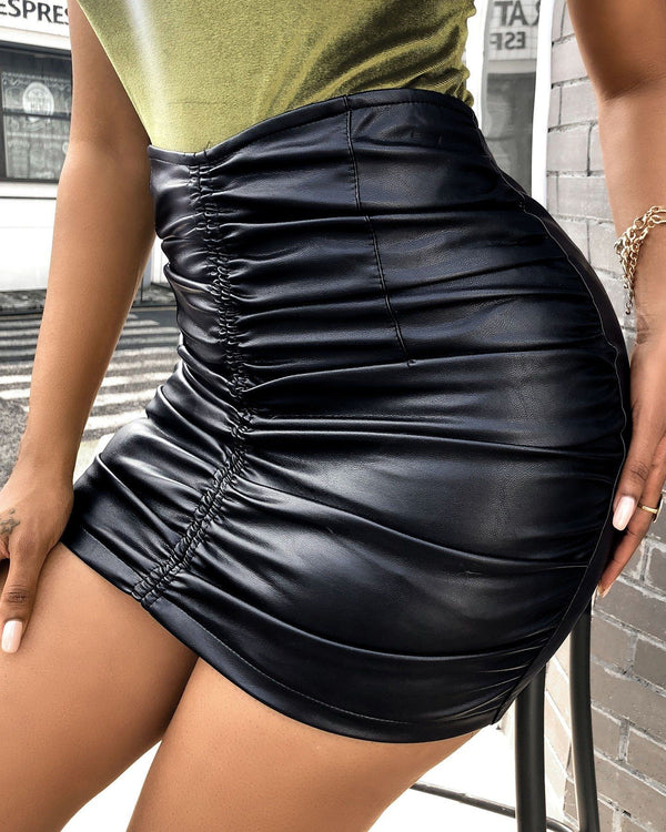 Women's Faux Leather Mini Skirt Sexy Slim Fit PU Pencil Club Wear High Waist Skirt