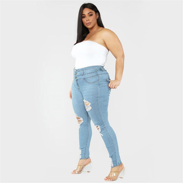 Women's Plus Size Ripped Jeans Black / Blue pants