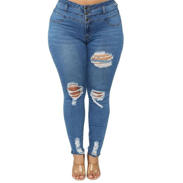 Women's Plus Size Ripped Jeans Black / Blue pants Dark blue 5XL