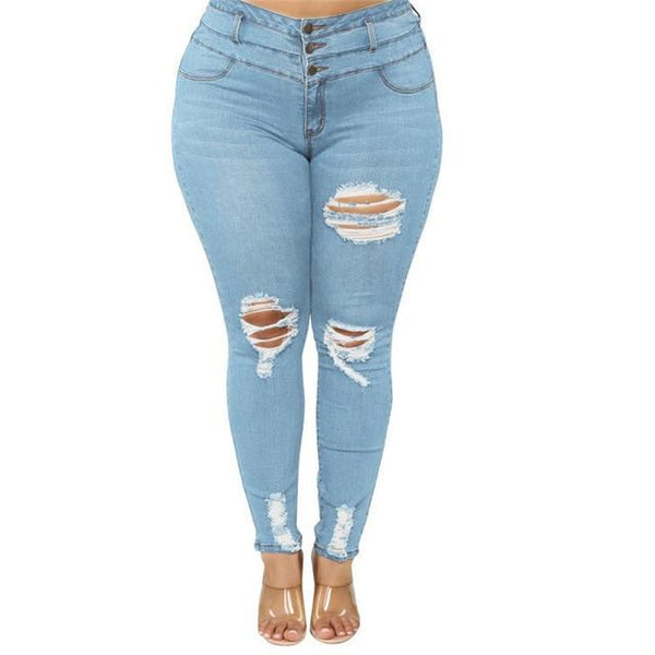 Women's Plus Size Ripped Jeans Black / Blue pants Light blue XXXL